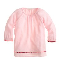 Girls' embroidered gauze top
