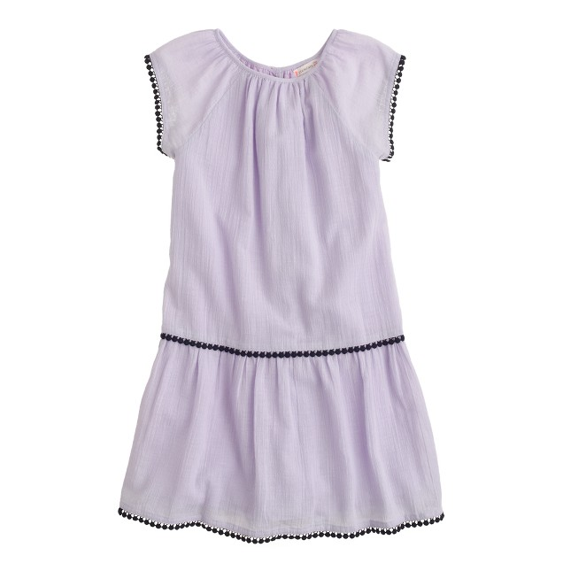 Girls' gauze pom-pom dress