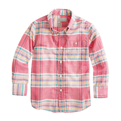 Boys' Indian cotton shirt in Rhone red plaid