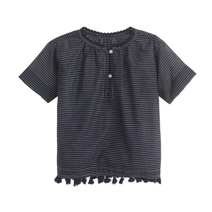 Girls' stripe tassel top