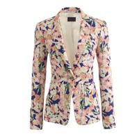 Collection silk blazer in iris floral
