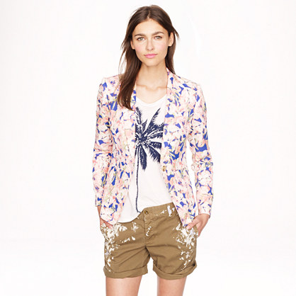 Collection silk blazer in iris floral