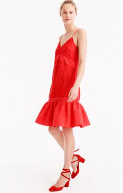 Ruffle-hem spaghetti-strap dress in eyelet