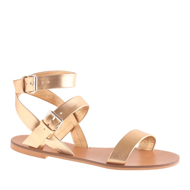 Leila metallic ankle-wrap sandals