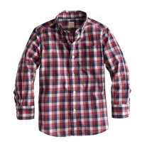 Boys' Secret Wash shirt in estate blue check