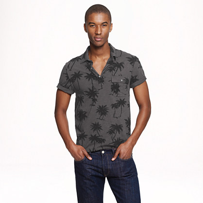 Cotton polo in palm tree print