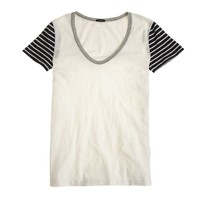 Vintage cotton stripe-sleeve scoopneck T-shirt