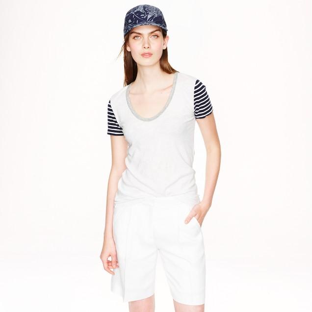 Vintage cotton stripe-sleeve scoopneck T-shirt