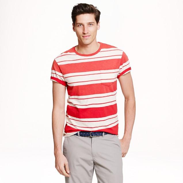 Pocket T-shirt in rhone red stripe