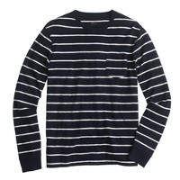 Long-sleeve pocket T-shirt in navy stripe