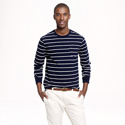 Long-sleeve pocket T-shirt in navy stripe