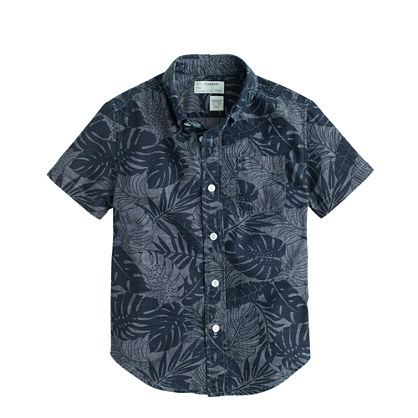 Boys' short-sleeve printed chambray shirt