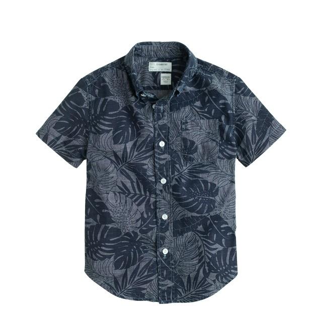 Boys' short-sleeve printed chambray shirt