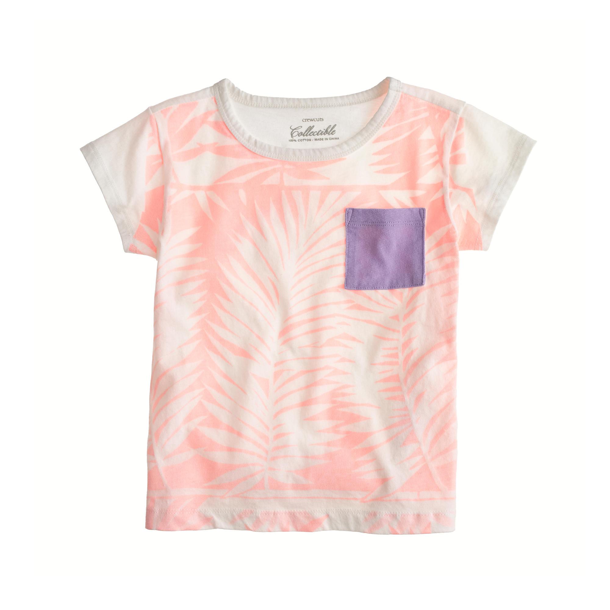 Girls 39 Palm Print Pocket T Shirt J Crew