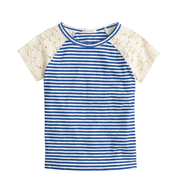 Girls' lace-sleeve stripe T-shirt