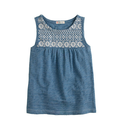 Girls' embroidered tank