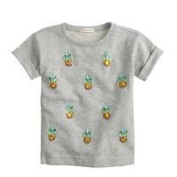 Girls' short-sleeve jeweled pineapple sweatshirt