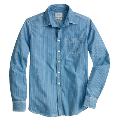 United Arrows™ for J.Crew overdyed indigo shirt in vintage stripe