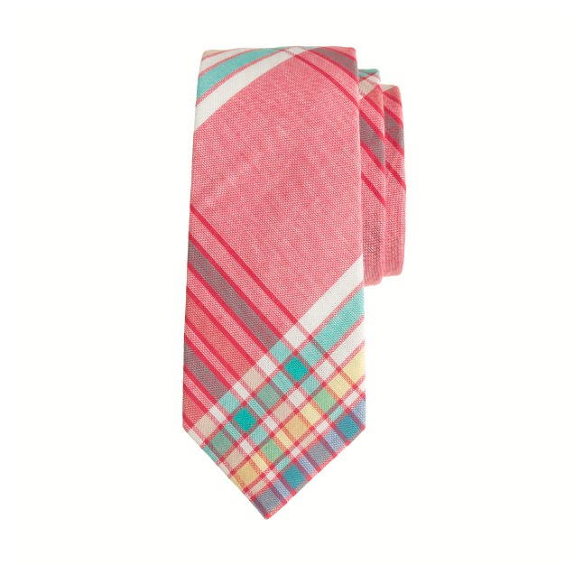 Boys' indian cotton tie in rhone red plaid