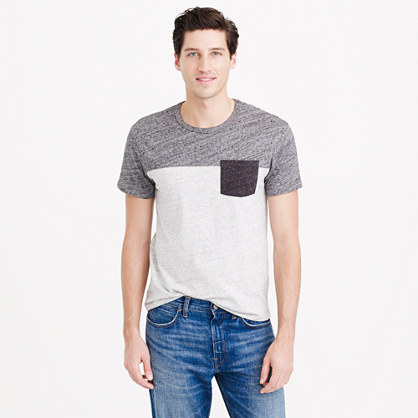 Slim flagstone pieced pocket T-shirt