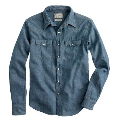 United Arrows™ for J.Crew indigo herringbone western shirt