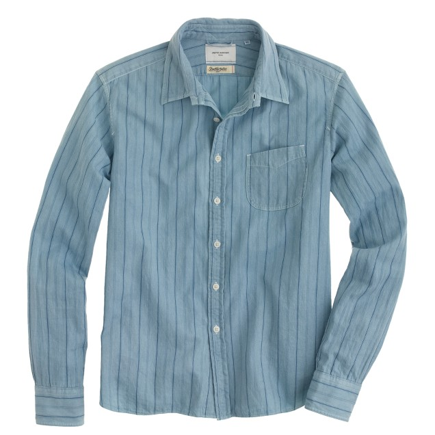 United Arrows™ for J.Crew indigo overdyed shirt in stripe