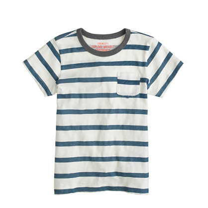 Boys' ringer pocket tee in seashore stripe