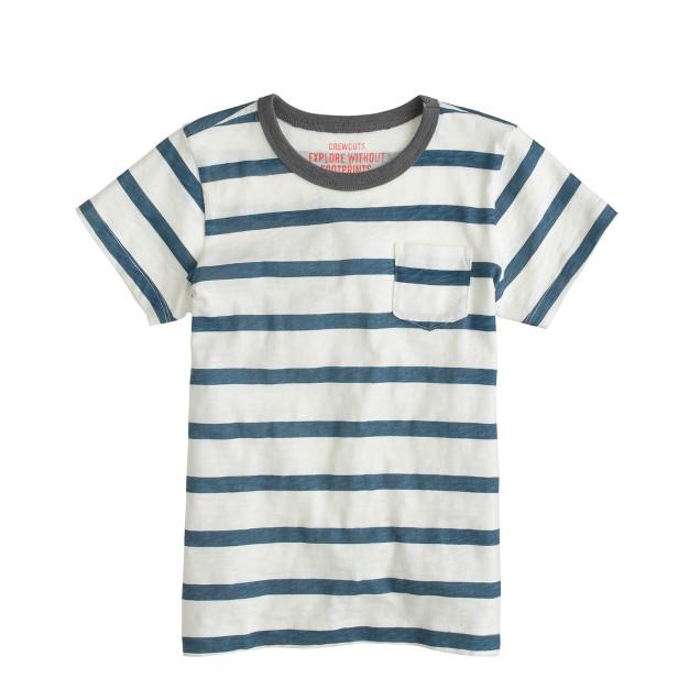 Boys' ringer pocket tee in seashore stripe
