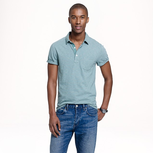 Textured cotton polo in faded spruce stripe