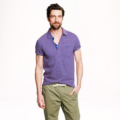Textured cotton polo in hudson navy stripe