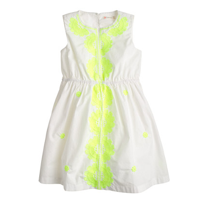 Girls' embroidered neon floral dress