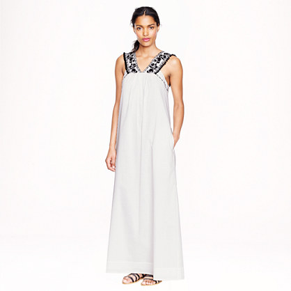 Embroidered pom-pom maxidress