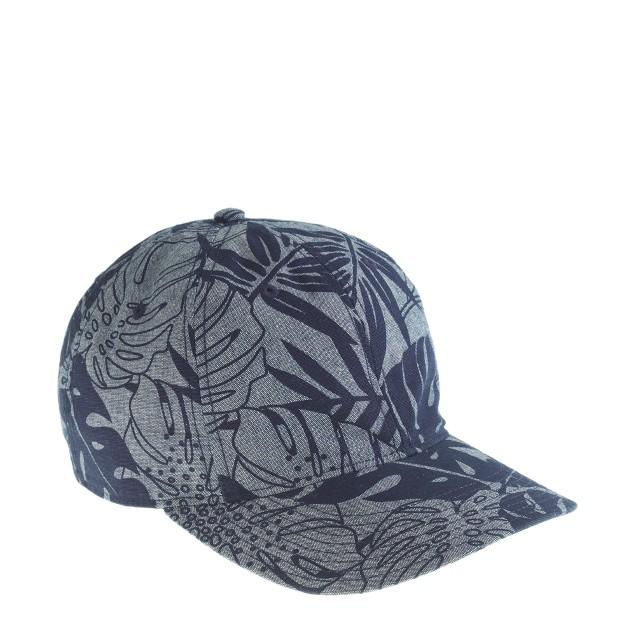 Printed chambray baseball cap