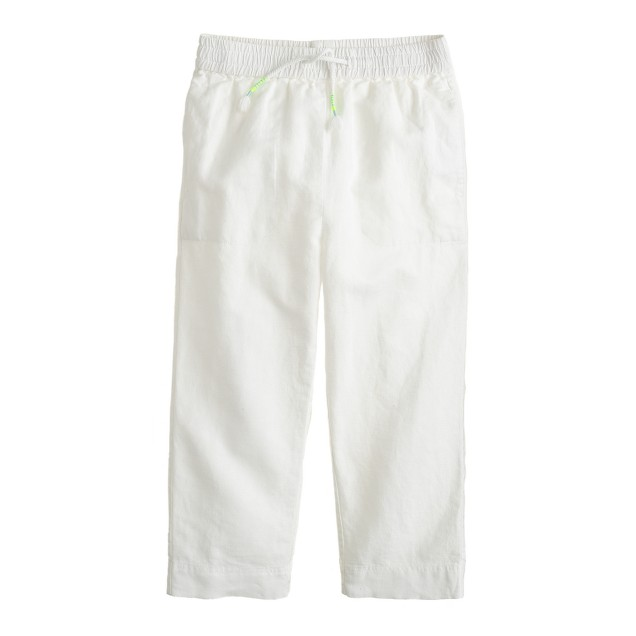 Girls' linen-cotton drawstring pant