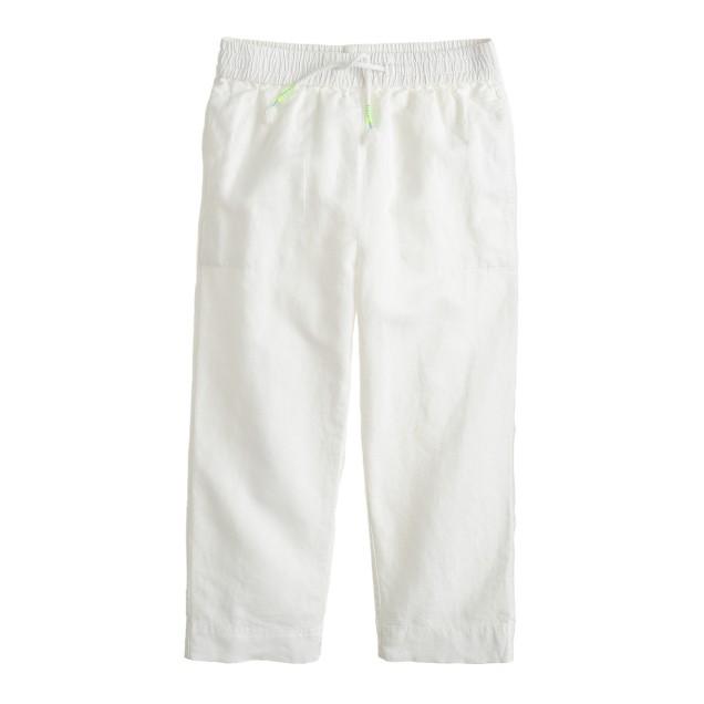 Girls' linen-cotton drawstring pant