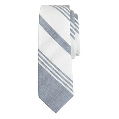 Boys' cotton tie in faded stripe