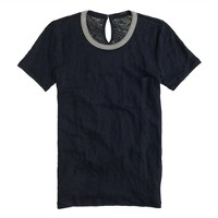 Metallic-trim linen T-shirt
