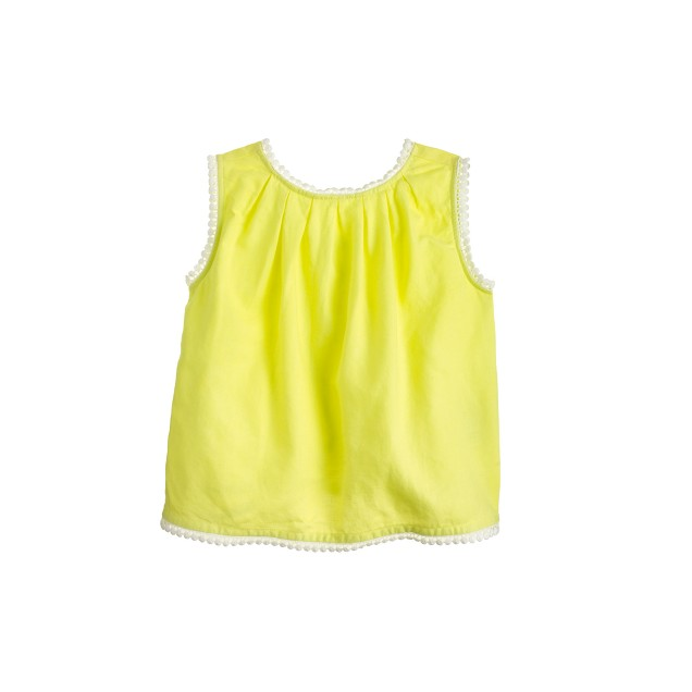 Girls' crossback pom-pom tank