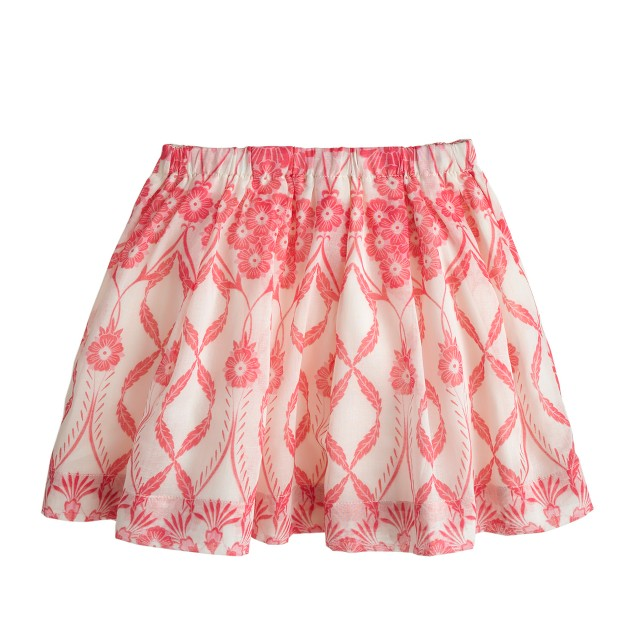 Girls' pleated organdy skirt in trellis floral