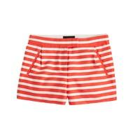 Textured-stripe short in festival orange