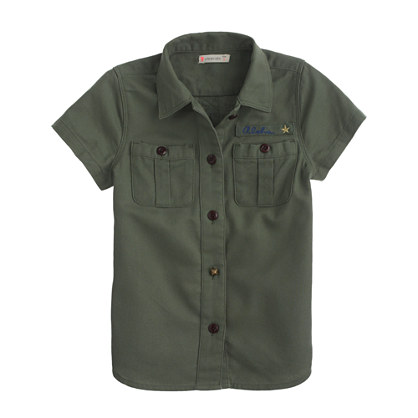 Girls' short-sleeve military shirt