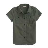 Girls' short-sleeve military shirt