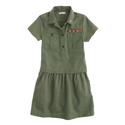 Girls' military shirtdress