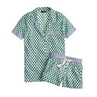 Short-sleeve sleep set in green foulard