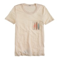Linen pocket T-shirt in surfboards