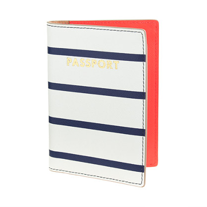 Stripe leather passport case