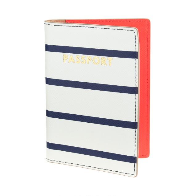 Stripe leather passport case