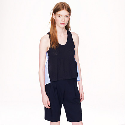 Stripe silk-back linen tank