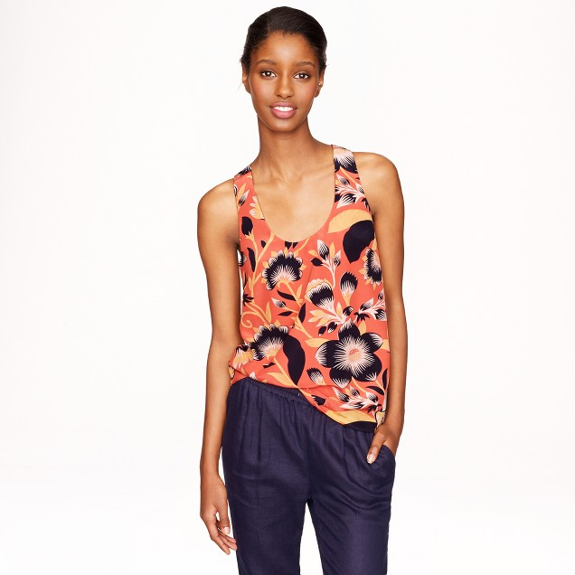 Twist-back top in hibiscus floral