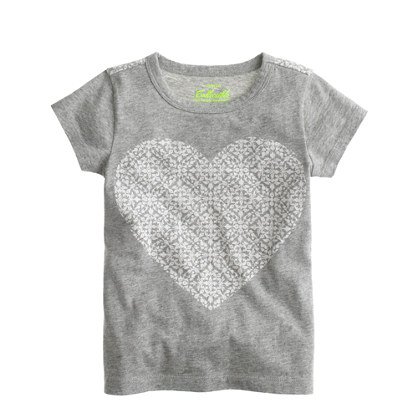 Girls' damask heart T-shirt